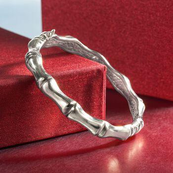 Italian Sterling Silver Bamboo Bangle Bracelet, , default