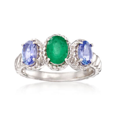 .75 Carat Emerald and .81 ct. t.w. Tanzanite Ring in Sterling Silver, , default