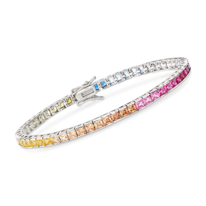 Princess-Cut Rainbow Simulated Sapphire Tennis Bracelet in Sterling Silver, , default