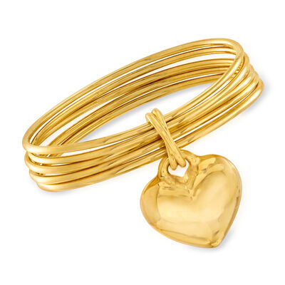 Italian Andiamo 14kt Yellow Gold Heart Charm Multi-Bangle Bracelet