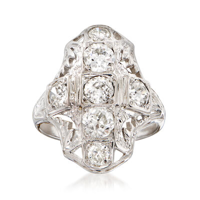 C. 1950 Vintage 1.60 ct. t.w. Diamond Filigree Cocktail Ring in 18kt White Gold