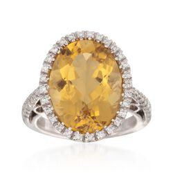 8.82 Carat Citrine and .24 ct. t.w. Diamond Ring in 18kt White Gold , , default