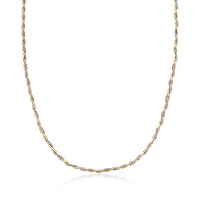 Italian Sterling Silver and 18kt Yellow Gold Over Sterling Silver Twisted Necklace, , default