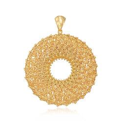 Italian 18kt Gold Over Sterling Open-Space Filigree Pendant, , default