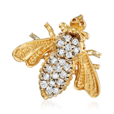 C. 1970 Vintage .25 ct. t.w. Diamond Bee Pin in 14kt Yellow Gold, , default