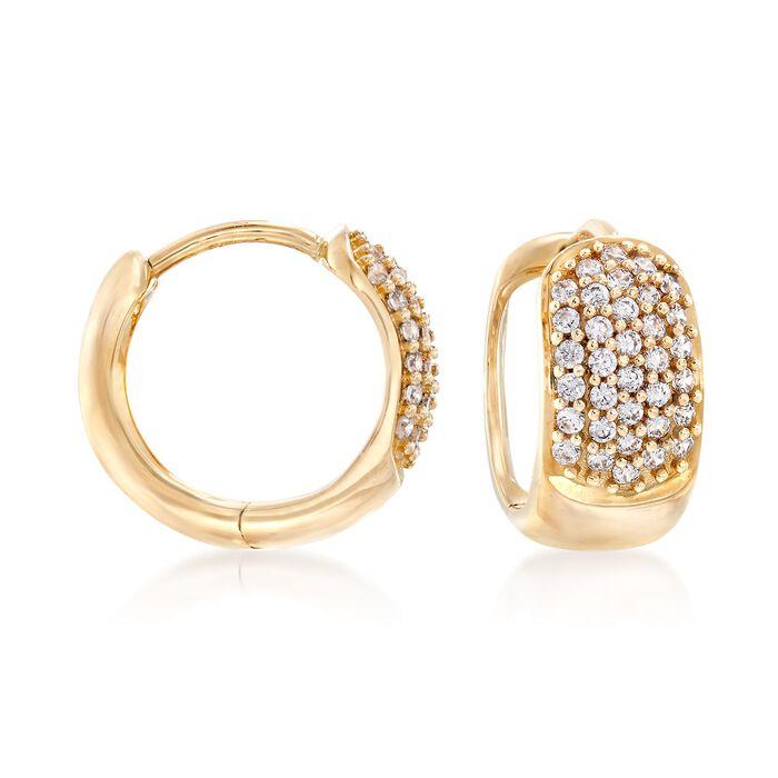 ".34 ct. t.w. CZ Huggie Hoop Earrings 14kt Yellow Gold. 3/8"", , default"