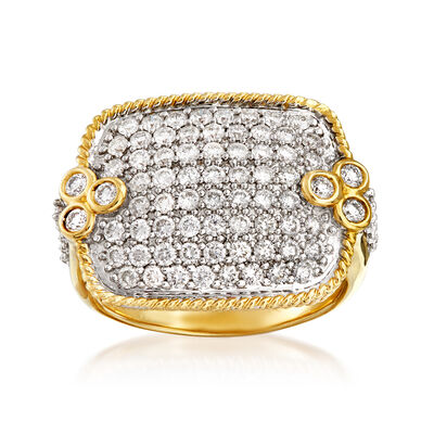 C. 1980 Vintage 2.10 ct. t.w. Pave Diamond Ring in 14kt Yellow Gold