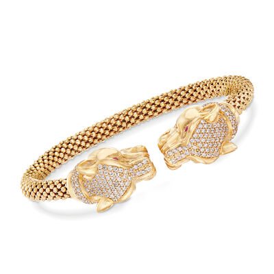 Italian 1.47 ct. t.w. CZ Double Panther Head Cuff Bracelet in 18kt Yellow Gold Over Sterling, , default