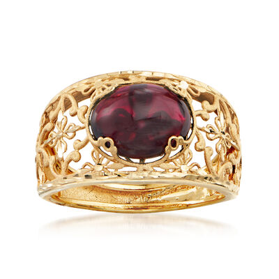 Italian 30.00 Carat Garnet Floral Ring in 14kt Yellow Gold
