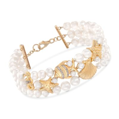 4-7mm Cultured Pearl Sea Life Bracelet with Diamonds in 18kt Gold Over Sterling, , default
