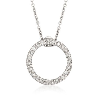 Roberto Coin .10 ct. t.w. Diamond Open Circle Pendant Necklace in 18kt White Gold, , default
