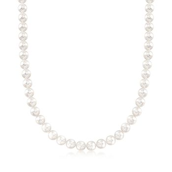 "Mikimoto 7-7.5mm 'A' Akoya Pearl Necklace With 18kt White Gold. 40"", , default"