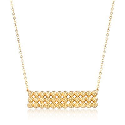 14kt Yellow Gold Beaded Bar Necklace, , default