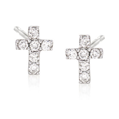.11 ct. t.w. Diamond Cross Earrings in 14kt White Gold