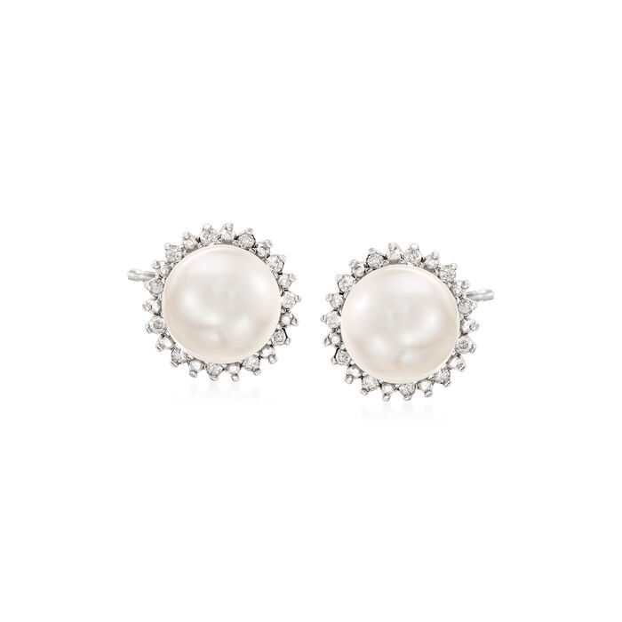 7-7.5mm Cultured Button Pearl and .13 ct. t.w. Diamond Stud Earrings in Sterling Silver. Std, , default
