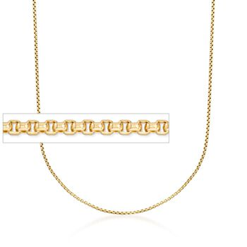 1.7mm 14kt Yellow Gold Rounded Box Chain Necklace, , default