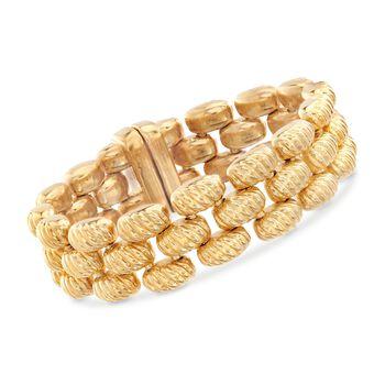 "Italian Andiamo 14kt Yellow Gold Reversible Panther-Link Bracelet. 7.5""-7.75"", , default"