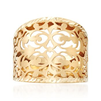Italian 14kt Yellow Gold Open Scrollwork Ring, , default