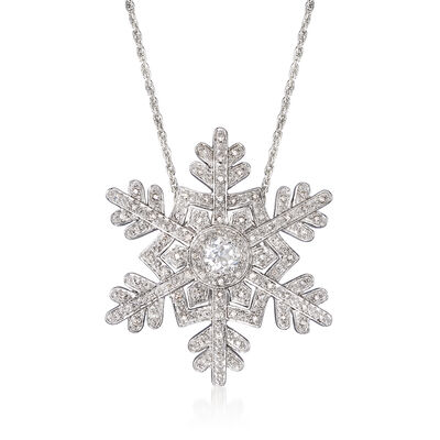 .50 ct. t.w. White Topaz and .25 ct. t.w. Diamond Snowflake Pin Pendant in Sterling Silver