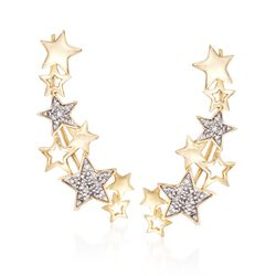 Diamond Accent Star Ear Crawlers in 14kt Yellow Gold, , default