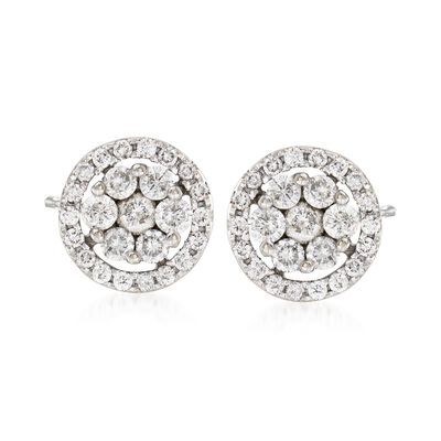 C. 2000 Vintage 1.00 ct. t.w. Diamond Cluster Earrings in 14kt White Gold