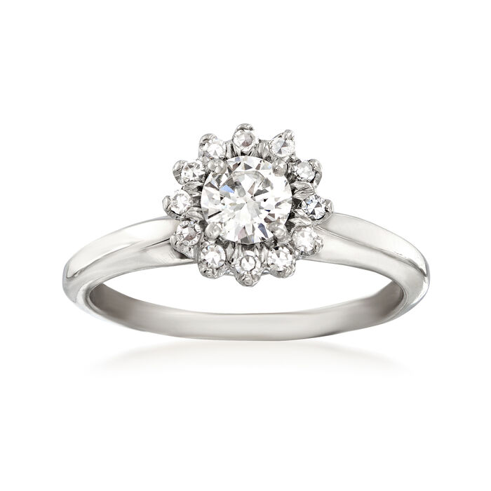 C. 1970 Vintage .60 ct. t.w. Diamond Engagement Ring in 14kt White Gold