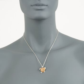 """.24 ct. t.w. Yellow Diamond Turtle Pendant Necklace in Sterling Silver. 18"""", , default"""