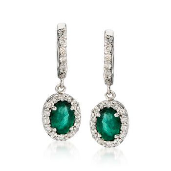 1.50 ct. t.w. Emerald and .40 ct. t.w. Diamond Earrings in 14kt White Gold, , default