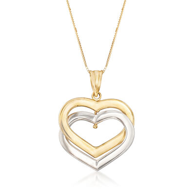 14kt Two-Tone Gold Interlocking Hearts Pendant Necklace, , default