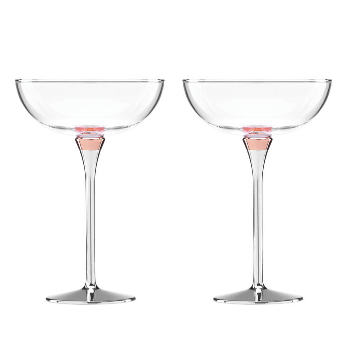 """Kate Spade New York """"Rosy Glow"""" Set of 2 Champagne Saucer Glasses"""