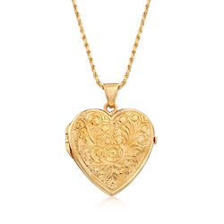 Italian 18kt Yellow Gold Over Sterling Silver Heart Locket Pendant Necklace, , default