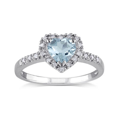 .60 Carat Aquamarine Heart Ring with Diamond Accents in Sterling Silver