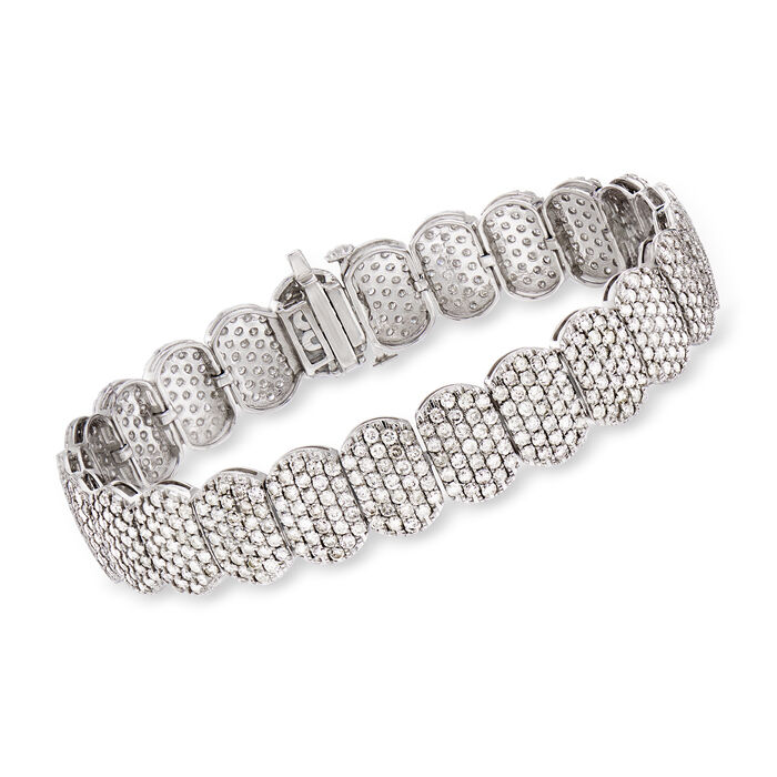 "10.00 ct. t.w. Pave Diamond Oval Bracelet in 14kt White Gold. 7"", , default"