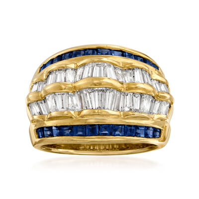C. 1980 Vintage 2.06 ct. t.w. Diamond and 1.15 ct. t.w. Sapphire Ring in 18kt Yellow Gold