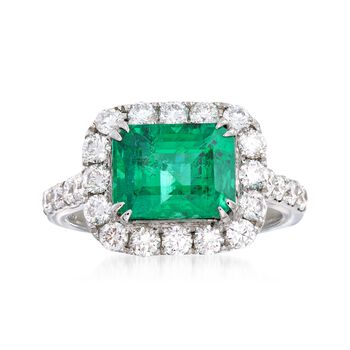 3.20 Carat Emerald and 1.15 ct. t.w. Diamond Ring in 18kt White Gold, , default