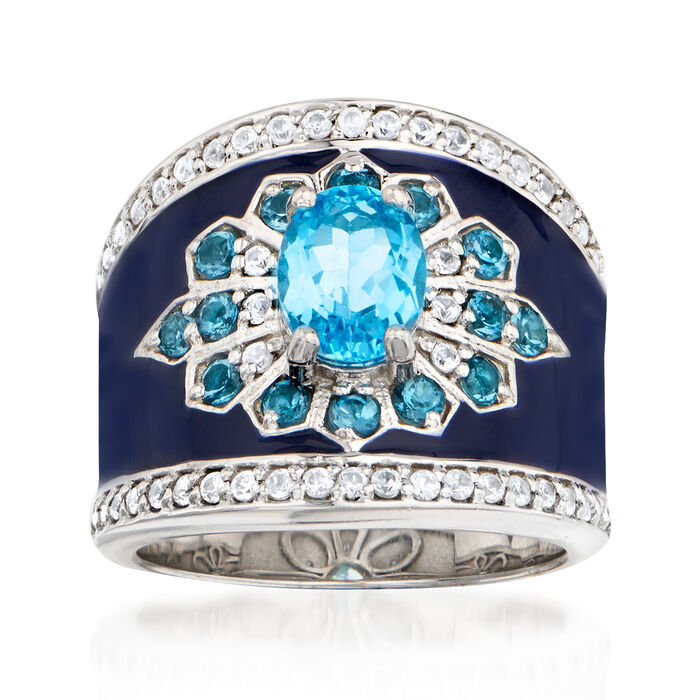 1.70 ct. t.w. Blue Topaz and .50 ct. t.w. White Zircon Ring with Blue Enamel in Sterling Silver