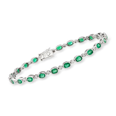 3.90 ct. t.w. Emerald and .24 ct. t.w. Diamond Tennis Bracelet in 14kt White Gold, , default
