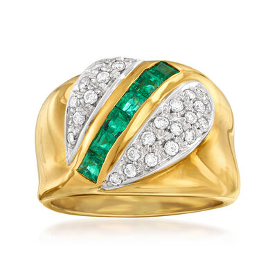 C. 1980 Vintage .60 ct. t.w. Emerald and .40 ct. t.w. Diamond Ring in 18kt Yellow Gold, , default