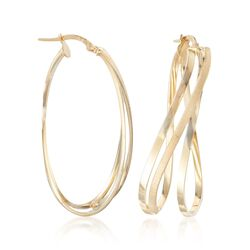 "Italian 14kt Yellow Gold Twist Hoop Earrings. 1 5/8"", , default"