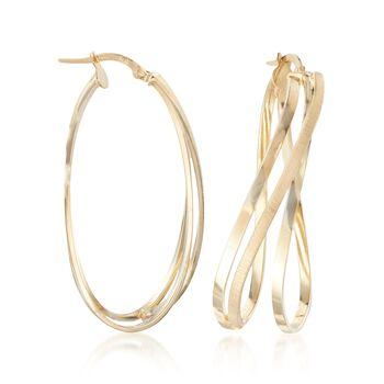 """Italian 14kt Yellow Gold Twist Hoop Earrings. 1 5/8"""", , default"""