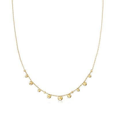 Italian 14kt Yellow Gold Bead Necklace, , default