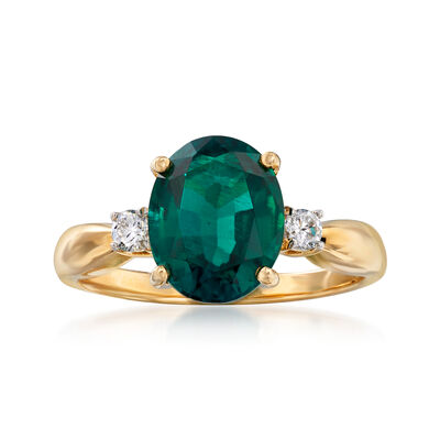 2.40 Carat Simulated Emerald and .10 ct. t.w. CZ Ring in 14kt Yellow Gold, , default