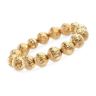 Italian Andiamo 14kt Yellow Gold Ribbed Bead Bracelet with Magnetic Clasp, , default