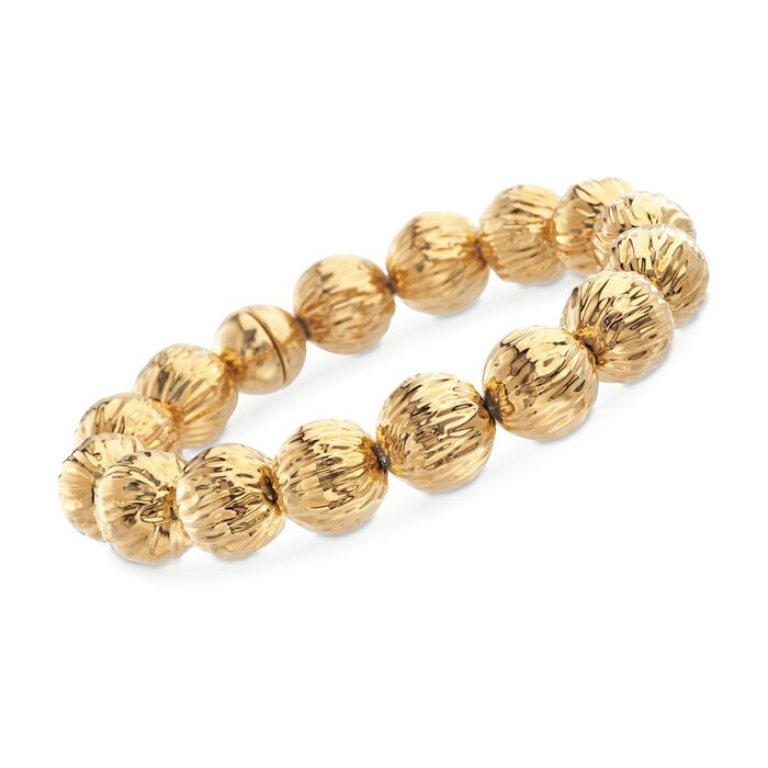 "Italian Andiamo 14kt Yellow Gold Ribbed Bead Bracelet with Magnetic Clasp. 8.25"", , default"