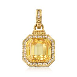 Judith Ripka Canary Yellow Crystal and .26 ct. t.w. Diamond Pendant in 18kt Yellow Gold, , default