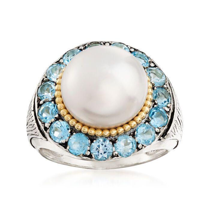 11-12mm Cultured Pearl and 3.00 ct. t.w. Blue Topaz Ring in Sterling Silver and 14kt Yellow Gold, , default