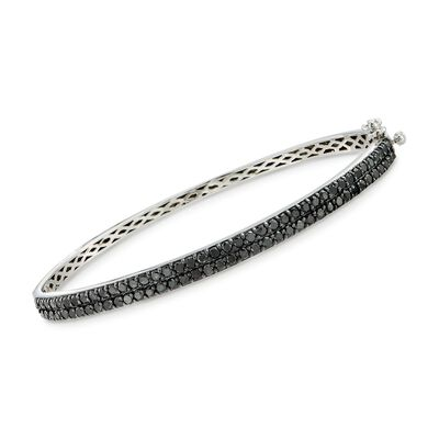 2.00 ct. t.w. Black Diamond Bangle Bracelet in Sterling Silver