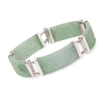 Jade Carved Dragon Bracelet in Sterling Silver, , default