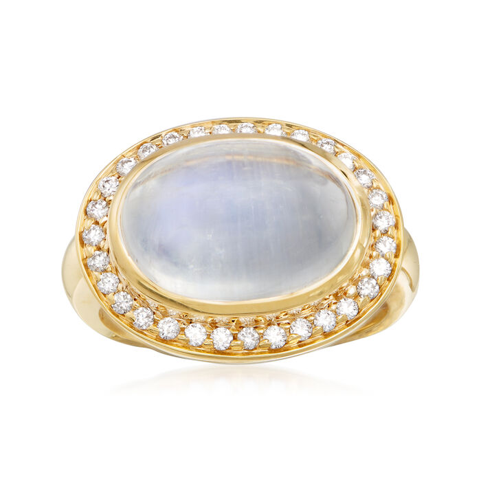 Mazza 16x12mm Moonstone and .31 ct. t.w. Diamond Ring in 14kt Yellow Gold. Size 7, , default