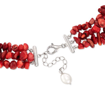 """4-9mm Red Coral and 7-8mm Cultured Pearl Necklace with Sterling Silver. 17.5"""""""